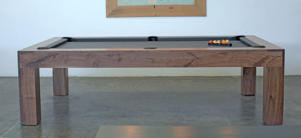 Natural Walnut Parsons Pool Table District Mills - How wide is a pool table